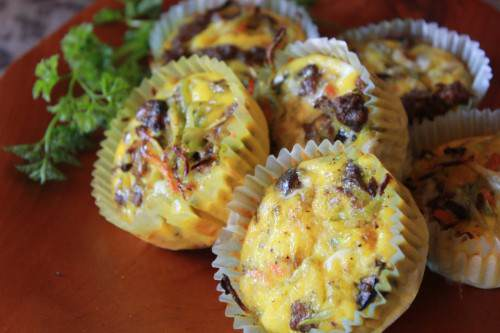 Curried Beef and Broccoli Slaw Fritatas
