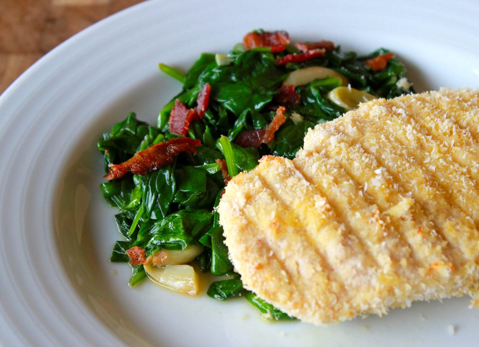 Coconut Chicken with Roasted Garlic Sautéed Spinach