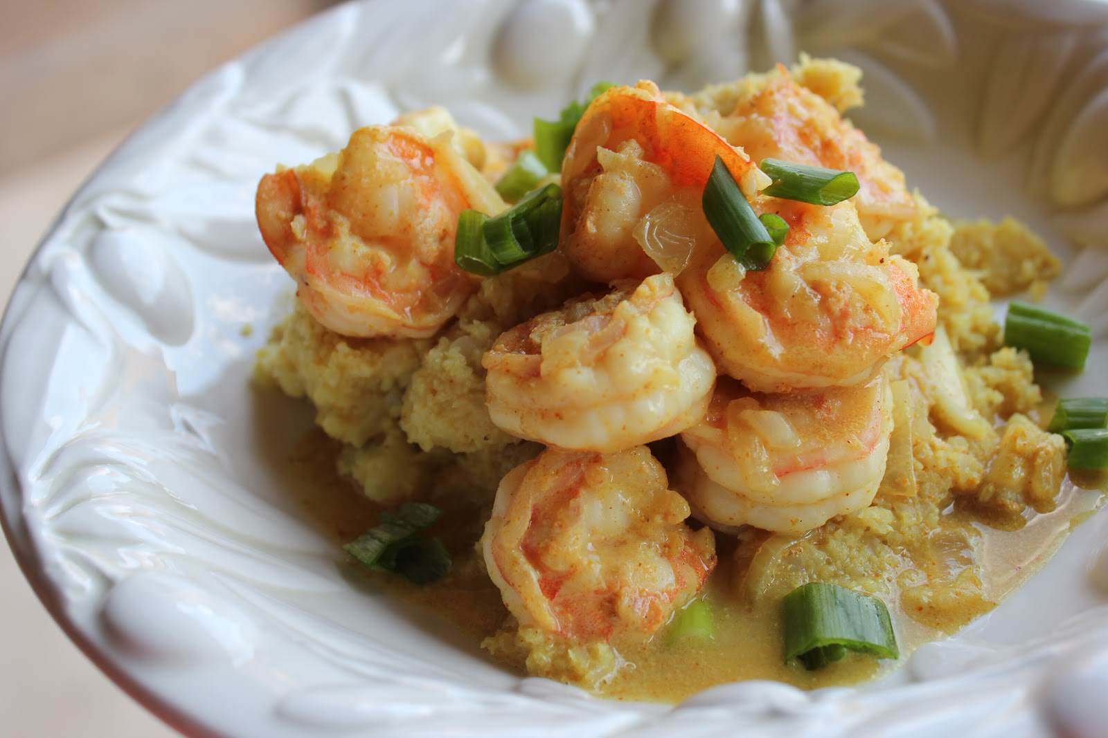 Paleo Thai Coconut Curry Shrimp  on Cauliflower Rice