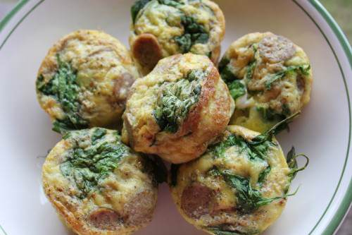 Chicken Sausage and Spinach Mini Frittatas