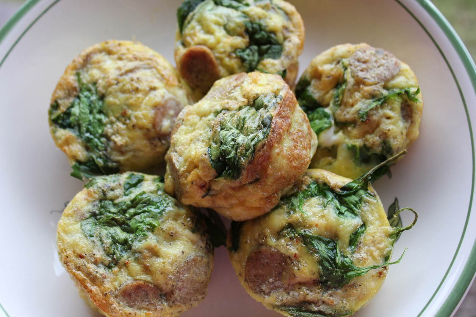 Paleo Chicken Sausage and Spinach Mini Frittatas
