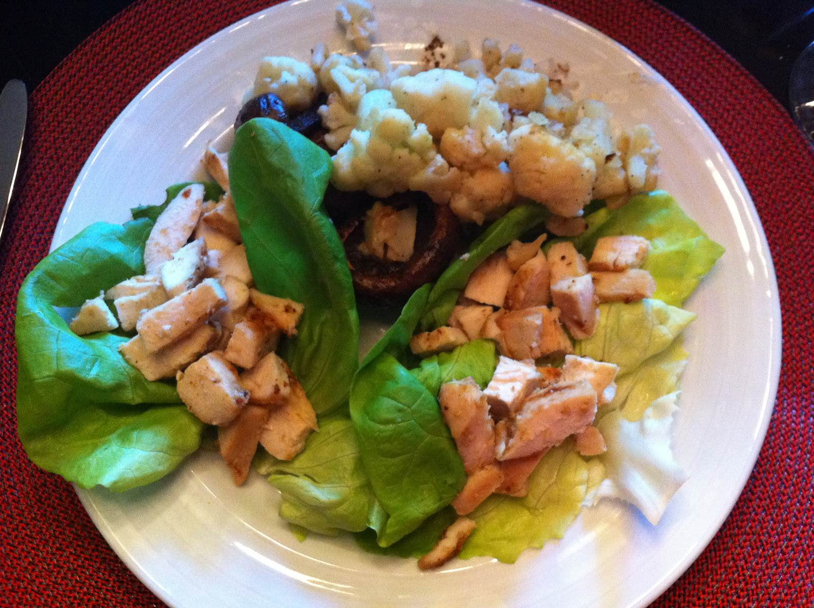 Paleo Grilled Chicken Lettuce Wraps with  Sauteed Mushrooms and Cauliflower
