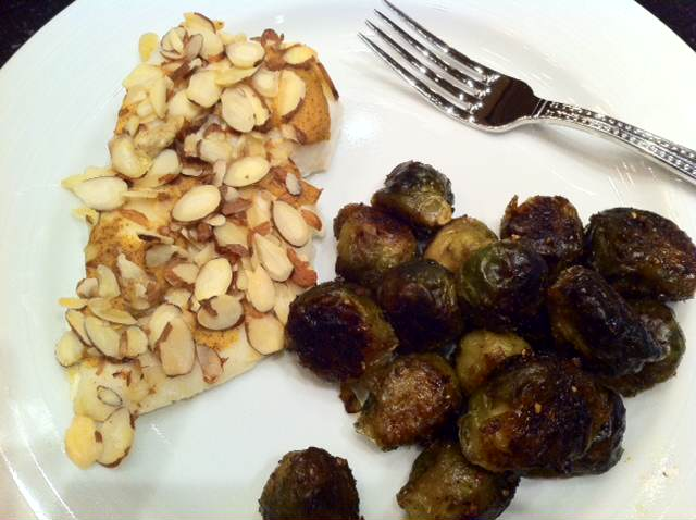 Almond Encrusted Dijon Halibut and Roasted Sprouts