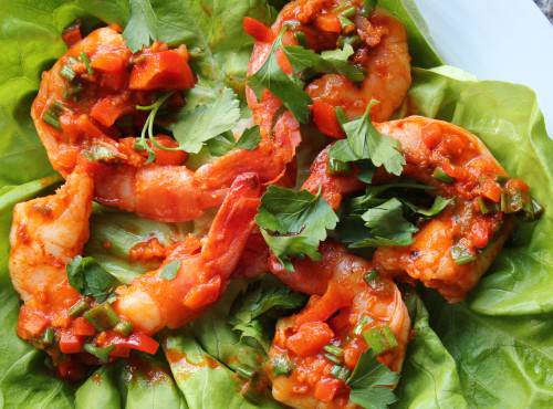 Paleo Sriracha Lime Shrimp Wraps