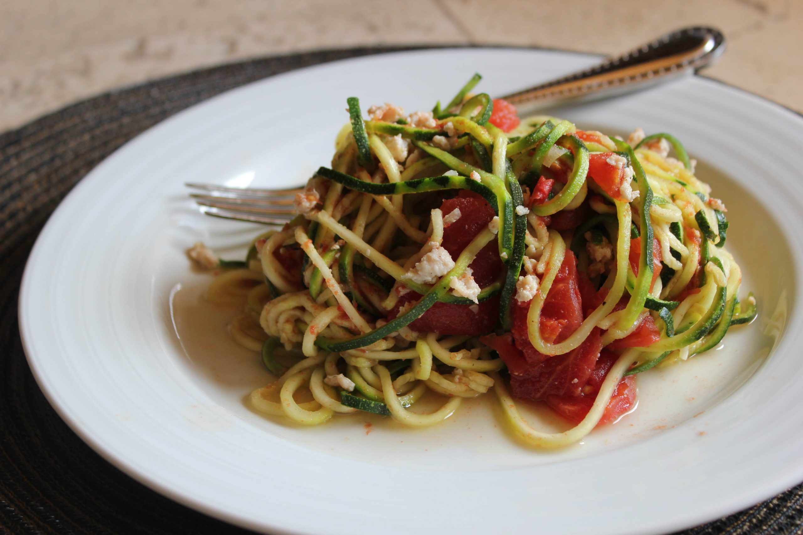 Paleo Zucchini Pasta with Tomatoes